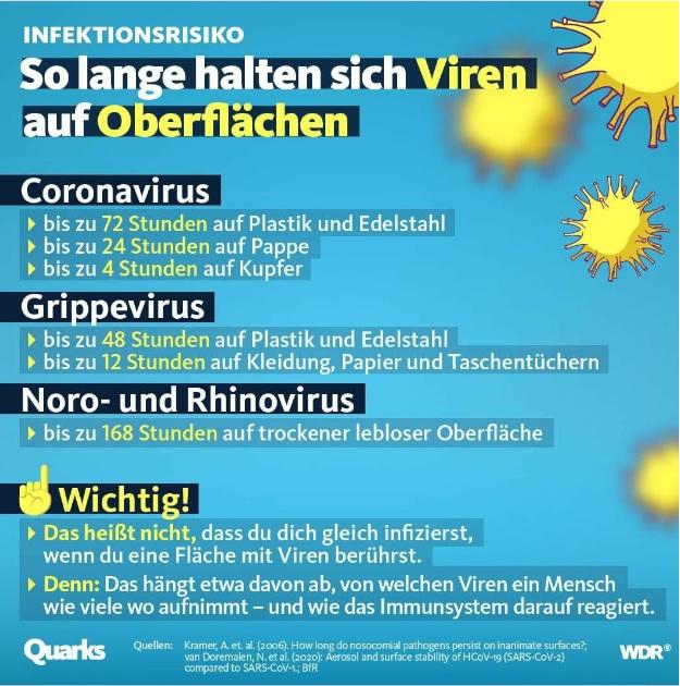 Viren auf Oberflächen Dauer